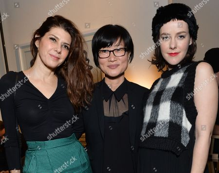 """Director So Yong Kim, center, poses with actors Marisa Tomei, left, and Jena Malone at the """"Lovesong"""" cast party hosted by Chase Sapphire Preferred during the 2016 Sundance Film Festival, in Park City, Utah"""