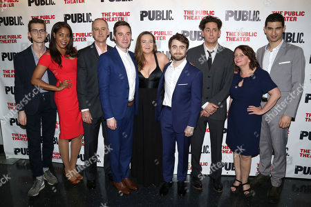 """Stock Photo of Harry Davies, from left, De'Adre Aziza, Michael Countryman, James Graham, Josie Rourke, Daniel Radcliffe, Reg Rogers, Rachel Dratch and Raffi Barsoumian attend the opening night of """"Privacy"""" at The Public Theater, in New York"""