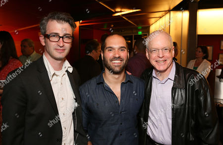 "From left, Director Daniel Aukin, Playwright Marco Ramirez and CTG Producing Director Douglas C. Baker pose during the party for the opening night performance of ""The Royale"" at Center Theatre Group's Kirk Douglas Theatre, in Culver City, Calif"