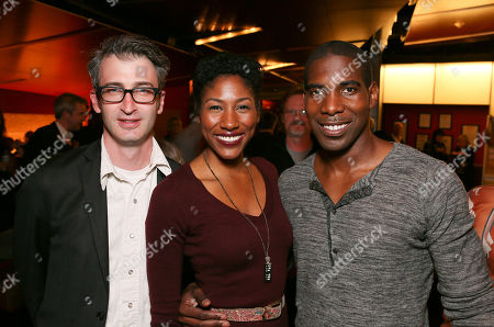 "From left, Director Daniel Aukin and cast members Diarra Oni Kilpatrick and Desean Terry pose during the party for the opening night performance of ""The Royale"" at Center Theatre Group's Kirk Douglas Theatre, in Culver City, Calif"