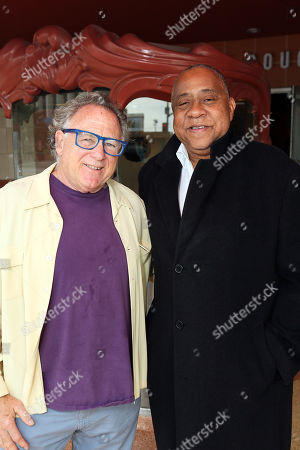 """Stock Photo of From left, Michael Barnard and actor Barry Shabaka Henley pose during the arrivals for the opening night performance of """"The Royale"""" at Center Theatre Group's Kirk Douglas Theatre, in Culver City, Calif"""