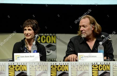 "Gale Anne Hurd, left, and Gregory Nicotero participate in ""The Walking Dead"" panel on Day 3 of Comic-Con International on in San Diego, Calif"