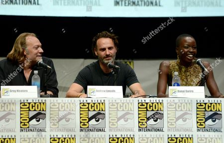 "From left, Gregory Nicotero, Andrew Lincoln and Danai Gurira participate in ""The Walking Dead "" panel on Day 3 of Comic-Con International on in San Diego, Calif"
