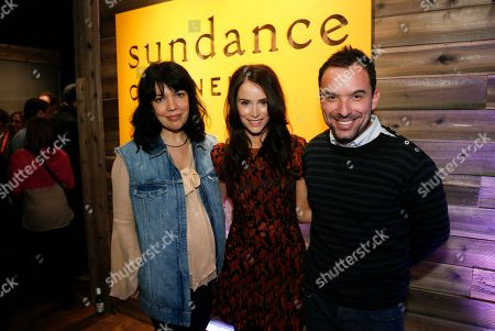 "Stock Photo of Executive Vice President & General Manager of Sundance Channel Sarah Barnett, left, ""Rectify"" cast member Abigail Spencer, center, and Sundance Channel executive Christian Vesper, right, pose together at Sundance Channel's Annual Festival Celebration during the 2013 Sundance Film Festival on in Park City, Utah"