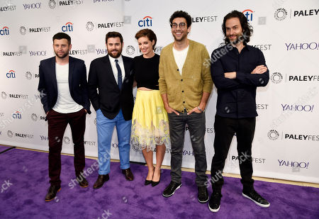 """Stock Image of Left to right, Brent Morin, David Fynn, Bianca Kajlich, Rick Glassman and Chris D'Elia, cast members in the television series """"Undateable,"""" pose together at the 2015 PaleyFest Fall TV Previews at The Paley Center for Media, in Beverly Hills, Calif"""