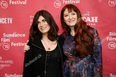 "Author Phoebe Gloeckner, left, whose book was adapted into the movie, and director Marielle Heller, right, pose at the premiere of ""The Diary of a Teenage Girl"" during the 2015 Sundance Film Festival, in Park City, Utah"