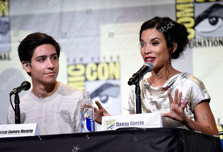 """Stock Image of Lorenzo James Henrie, left, and Danay Garcia attend the """"Fear the Walking Dead"""" panel on day 2 of Comic-Con International, in San Diego"""