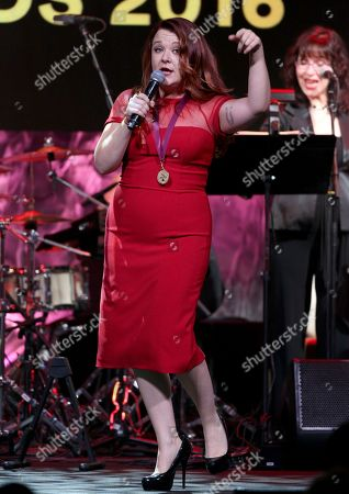 """Audra Mae performs """"Heartbeat Song"""" at the 33rd annual ASCAP Pop Music Awards at the Dolby Ballroom, in Los Angeles"""