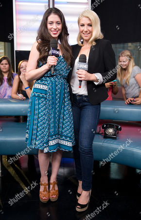 """Stock Picture of Actresses Lauren Anne Miller, left, and Ari Graynor visit New.Music.Live. to promote their movie """"For a Good Time, Callâ?¦"""" at the MuchMusic HQ, in Toronto"""