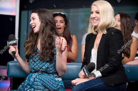 """Stock Image of Actresses Lauren Anne Miller, left, and Ari Graynor visit New.Music.Live. to promote their movie """"For a Good Time, Callâ?¦"""" at the MuchMusic HQ, in Toronto"""