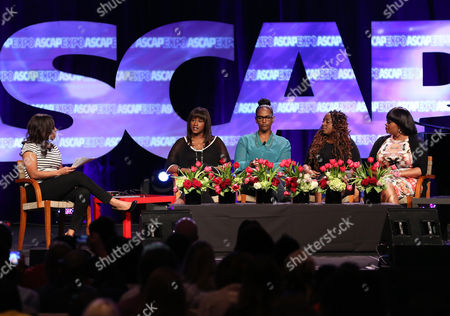 """L-R) VP, Urban, Creative Services, ASCAP Nicole George-Middleton, EVP & Head of Urban Music, Universal Music Publishing Group Ethiopa Habtemariam, Co-Founder & Artist Manager, Chris Brown Ent. & Phase Too Management Tina Davis, Artists Ledisi and Jill Scott participate in the """"Women Behind The Music: Playing for Keeps"""" panel at the 8th Annual ASCAP """"I Create Music"""" EXPO, on in Hollywood, California"""