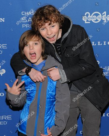 """Actors Deke Garner, left, and Dylan Coleat the Chase Sapphire Preferred """"Hellion"""" premiere party during the Sundance Film Festival, on in Park City, Utah"""