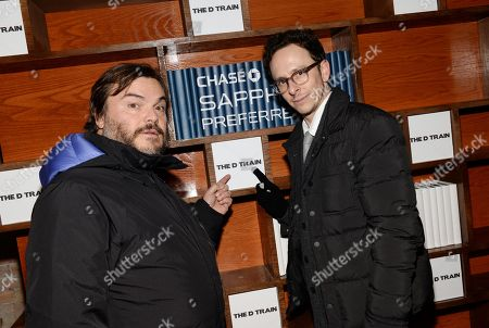 """Actors Jack Black, left, Jarrad Paul attend """"The D Train"""" cast party hosted by Chase Sapphire Preferred during the Sundance Film Festival on in Park City, Utah"""