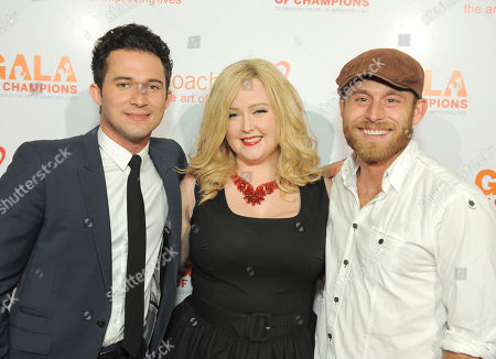 From left, Justin Willman, Katrina Parker, and Justin Hopkins arrive at the CoachArt Gala of Champions held at The Beverly Hilton, in Beverly Hills, Calif