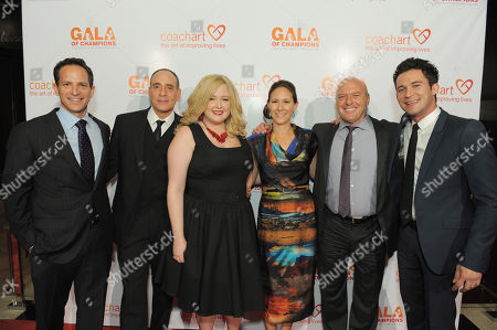 From left, Zander Lurie, Nestor Serrano, Katrina Parker, Leah Bernthal, Dean Norris and Justin Willman arrive at the CoachArt Gala of Champions held at The Beverly Hilton, in Beverly Hills, Calif