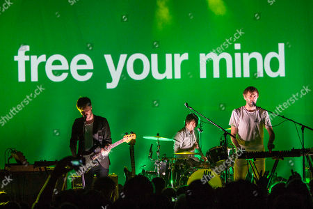 Dan Whitford, Tim Hoey, Mitchell Scott and Ben Browning with Cut Copy performing as part of the Free Your Mind Tour 2014 at the Variety Playhouse, in Atlanta