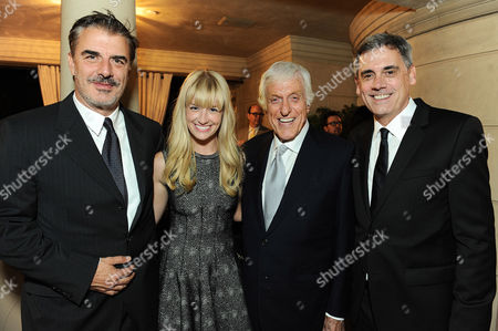 From left, Chris Noth, Beth Behrs, Dick Van Dyke, Geffen Playhouse Artistic Director Randall Arney attend Geffen Playhouse's 3rd Annual Chairman's Circle Dinner, in Los Angeles. The Geffen Playhouse recently hosted its third annual celebratory Chairman's Circle dinner at the home of Board Chair Frank Mancuso and wife, Fay. The evening paid tribute to Geffen supporters and featured entertainment by Broadway singer and actress Merle Dandridge. Louis XIII and Audi graciously underwrote the evening which recognized Howard Tenenbaum, Vice-President, Keyes Automotive, Inc. with the Gil Cates Mensch Award