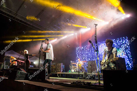 Stock Image of Hannah Hooper, Christian Zucconi, Ryan Rabin, Andrew Wessen and Dan Gleason of Grouplove performs during the Honda Civic Tour at The Masquerade, in Atlanta