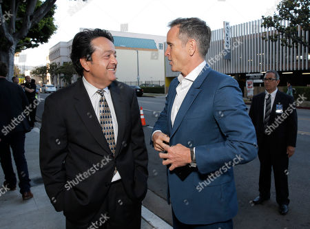 HBO Films President Len Amato and Executive Producer Dante Di Loreto attend the Los Angeles premiere of HBO's 'The Normal Heart' at The Writers Guild Theatre on in Beverly Hills, California