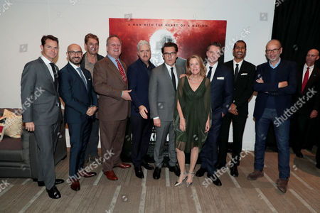 Jason Cassidy, President, Marketing, Focus Features, Peter Kujawski, Chairman, Focus Features, Tim Bevan, Producer, Douglas Urbanski, Producer, Anthony McCarten, Writer/Producer, Joe Wright, Director, Lisa Bruce, Producer, Robert Walak, President, Focus Features, Abhijay Prakash, Chief Operating Officer, Focus Features, Eric Fellner, Producer,