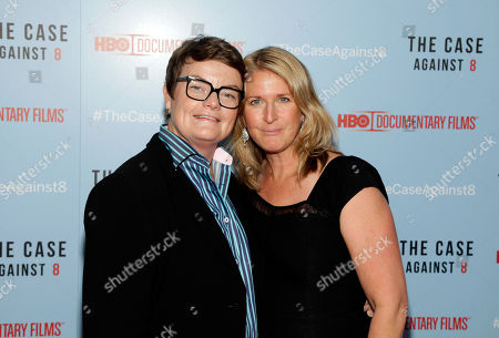 "Stock Image of Proposition 8 plaintiffs Kris Perry, left, and Sandy Stier, right, attend a screening of ""The Case Against 8"", in New York"