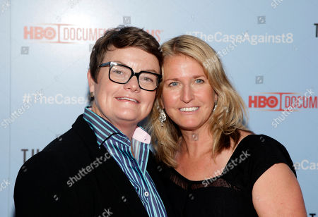 "Proposition 8 plaintiffs Kris Perry, left, and Sandy Stier, right, attend a screening of ""The Case Against 8"", in New York"