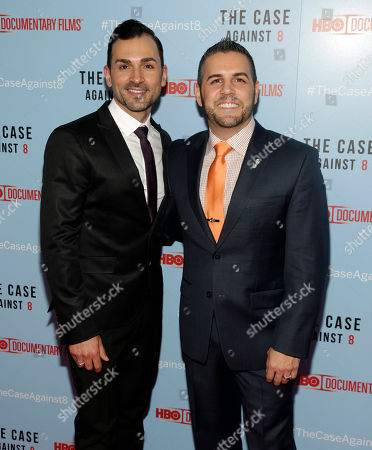 "Proposition 8 plaintiffs Paul Katami, left, and Jeff Zarrillo, right, attend a screening of ""The Case Against 8"", in New York"