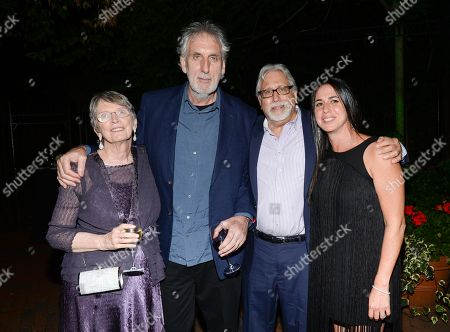 "Author Lois Lowry, left, director Phillip Noyce, producer Neil Koenigsberg and producer Nikki Silver attend the party for the world premiere of ""The Giver"" at the Central Park Boathouse, in New York"