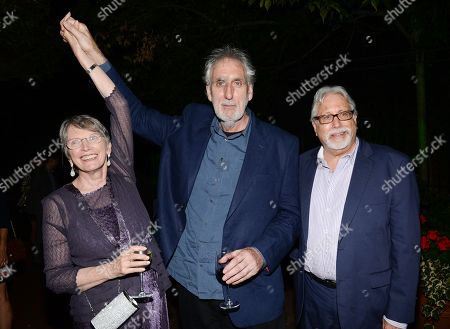 "Author Lois Lowry, director Phillip Noyce and producer Neil Koenigsberg attend the party for the world premiere of ""The Giver"" at the Central Park Boathouse, in New York"