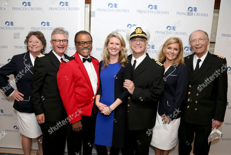 Left to right, Lauren Tewes, Fred Grandy, Ted Lange, Jan Swartz, Gavin MacLeod, Jill Whelan and Bernie Kopell join Princess Cruises to celebrate their 50th anniversary with the original cast of The Love Boat aboard Pacific Princess at the Port of Los Angeles on Thurs., in Los Angeles