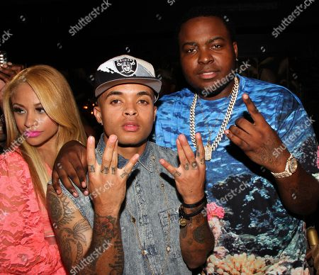 "Recording artists Charisse Mills, Bobby Brackins and Sean Kingston attend Sean Kingston's ""Back 2 Life"" Listening Party Hosted by Epic Record on Wed. at No. 8 in Manhattan, New York"