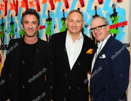 Davis Factor, and from left, John Demsey, and Donald Robertson are seen at the grand re-opening celebration at Smashbox Studios, in Culver City, Calif