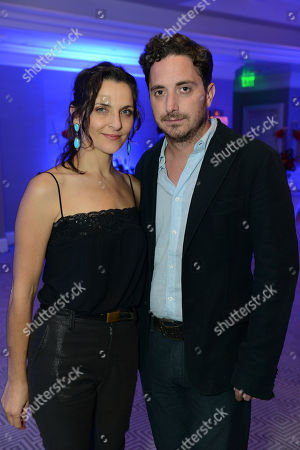 Stock Image of Actress Antonia Zegers and Director Pablo Larrain attend the Sony Pictures Classics Pre-Oscar Dinner at The London Hotel on in West Hollywood, California