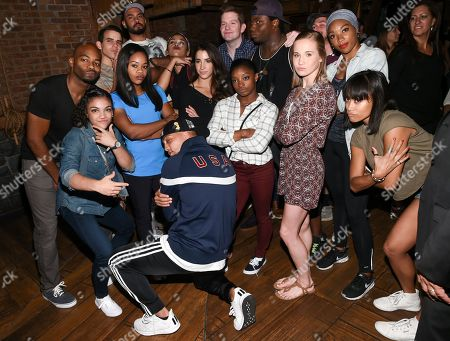 """Members of the """"Final Five"""" Rio Olympics gold medal-winning U.S. Gymnastics team Gabby Douglas, Madison Kocian, Aly Raisman, Simone Biles and Laurie Hernandez visit backstage with the cast of """"Hamilton"""" after attending the performance at the Richard Rogers Theatre, in New York"""