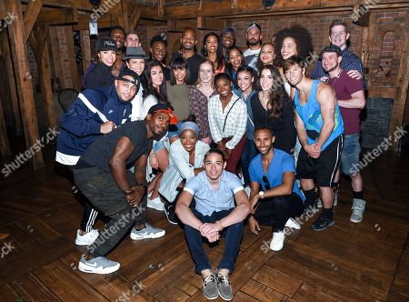 """Members of the """"Final Five"""" Rio Olympics gold medal-winning U.S. Gymnastics team visit backstage with the cast of """"Hamilton"""" after attending the performance at the Richard Rogers Theatre, in New York"""