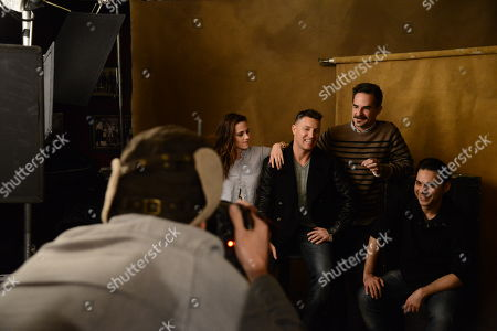 Stock Picture of From left, Kristen Stewart, Lane Garrison, Peter Sattler, and Payman Maadi seen at The Hollywood Reporter Lounge, on in Park City, Utah