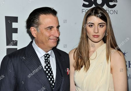 Andy Garcia, left, and Dominik Garcia-Lorido arrive at The Wishing Well Winter Gala at the Beverly Wilshire Hotel, on Tuesday, December, 4, 2013 in Beverly Hills, Calif