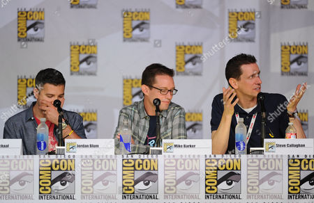 """From left, series writer Jordan Blum and cast members Mike Barker and Steve Callaghan attend the FOX """"American Dad"""" panel, on in San Diego, Calif"""