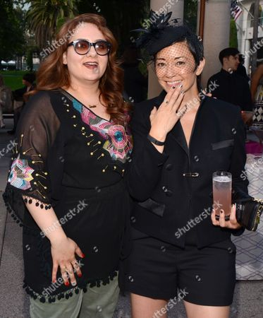"""Ane Crabtree, costume designer of """"Masters of Sex,"""" right, and Artemis Pebdani seen at the Television Academy's 66th Emmy Awards Costume Design and Supervision Nominee Reception at the Fashion Institute of Design & Merchandising, in Los Angeles"""