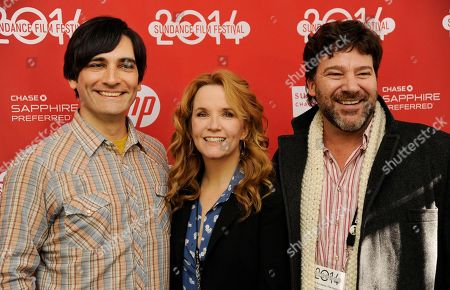 """Stock Photo of Michael Tully, left, writer/director of """"Ping Pong Summer,"""" poses with cast members Lea Thompson, center, and Robert Longstreet at the premiere of the film at the 2014 Sundance Film Festival, in Park City, Utah"""