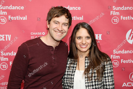 "Executive Producer Mark Duplass, left, and producer Stephanie Langhoff, right, pose at the premiere of ""The Bronze"" during the 2015 Sundance Film Festival, in Park City, Utah"