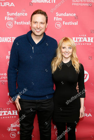 """Co-writers Melissa Rauch, right, and Winston Rauch, left, pose at the premiere of """"The Bronze"""" during the 2015 Sundance Film Festival, in Park City, Utah"""