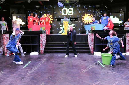 "Josh Server, from left, Marc Summers and Emily Bicks attend the ""Double Dare Live Streaming Event"" held at Fluxx, in San Diego"