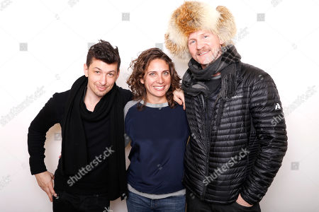 """Producers Jeremy Chilnick, Stacey Reiss, and Morgan Suprlock poses for a portrait to promote the film, """"Eagle Huntress"""", at the Toyota Mirai Music Lodge during the Sundance Film Festival on in Park City, Utah"""
