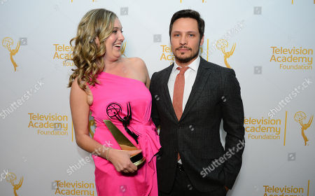 Award winner Madison Way, left, and Nick Wechsler pose in the press room at the 35th College Television Awards, presented by the Television Academy Foundation at The Leonard H. Goldenson Theatre in the NoHo Arts District, in Los Angeles