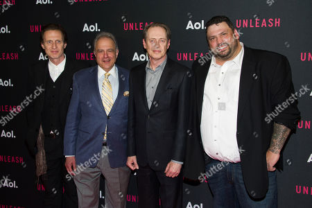 Michael Buscemi, left, Anthony Laciura, Steve Buscemi, Dermot McCormack and Gino Orlando attends the AOL NewFront 2015 at 4 World Trade Center, in New York