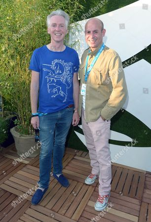 Philip Treacy and partner Stefan Bartlett in the VIP Lounge at Barclaycard presents British Summer Time in Hyde Park, London, on