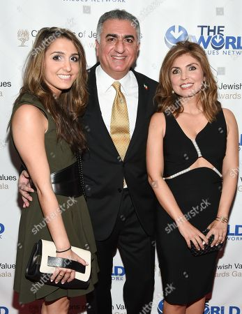 Crown Prince of Iran, Reza Pahlavi poses with his daughter Iman Pahlavi and wife Yasmine Pahlavi at the Champions of Jewish Values International Awards Gala at the Marriott Marquis, in New York