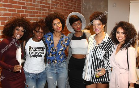 "Stock Photo of Bianca Alexa, from left, guest, Grasie Mercedes, Joia John, Nikia Phoenix and Kai Frias seen at DevaCurl's Celebration of ""Curls Night Out"" at Devachan Salon, in Los Angeles, CA"