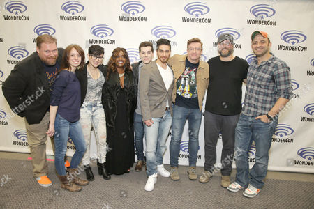 "Stock Image of Writer Tim Hedrick, Executive Producer Lauren Montgomery, Bex Taylor-Klaus, Kimberly Brooks, Jeremy Shada, Josh Keaton, Rhys Darby, Tyler Labine and Executive Producer Joaquim Dos Santos seen at DreamWorks Animation ""Voltron: Legendary Defender"" Wondercon Presentation at Los Angeles Convention Center, in Los Angeles, CA"